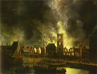 Jan Beerstraten The Old Town Hall of Amsterdam on Fire in 1652