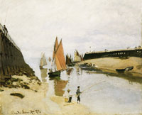 Claude Monet - Breakwater at Trouville, low tide