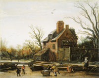 Esaias van de Velde Winter Landscape with Farmer's House