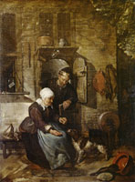Gabriel Metsu An Old Couple Feeding a Dog