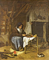 Gabriel Metsu An Old Woman at her Meal