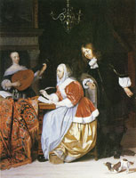 Gabriel Metsu A Woman Composing Music, with an Inquisitive Man