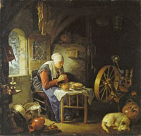 Gerard Dou An Old Woman at Prayer before her Meal