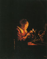 Gerard Dou An Old Woman Winding Thread on a Reel