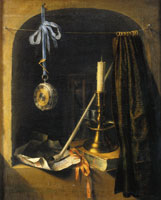 Gerard Dou Still Life with Candlestick and a Watch