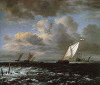 Jacob van Ruisdael Vessels in a Choppy Sea