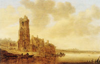 Jan van Goyen River View with the Ruin of the Church of Warmond