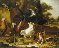 Melchior d'Hondecoeter Birds and a spaniel in a garden