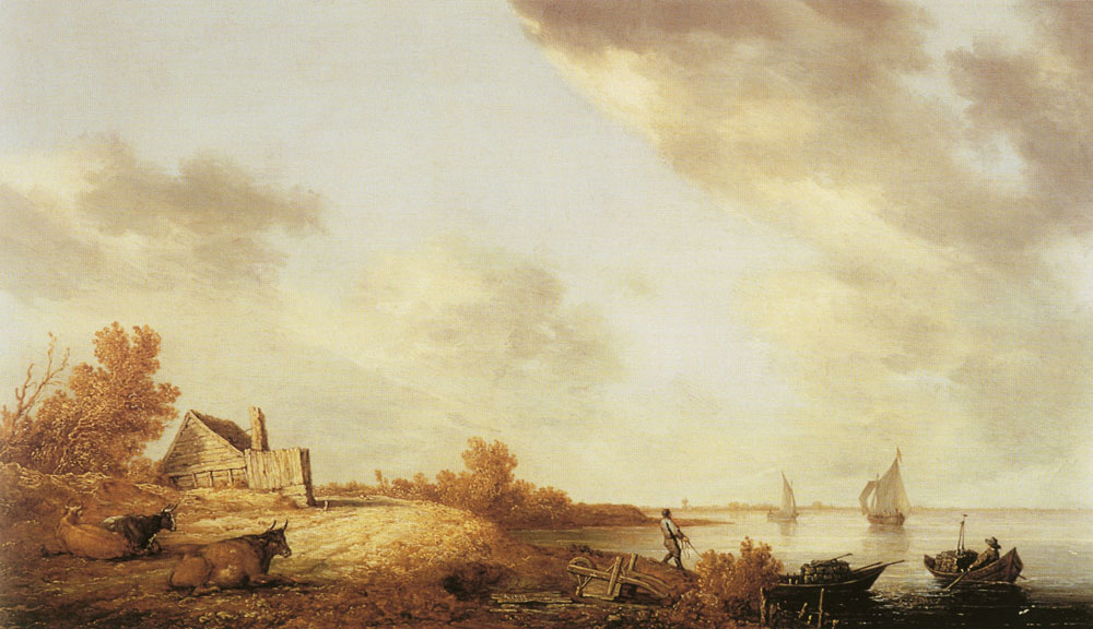 Aelbert Cuyp - Cattle and cottage near a river