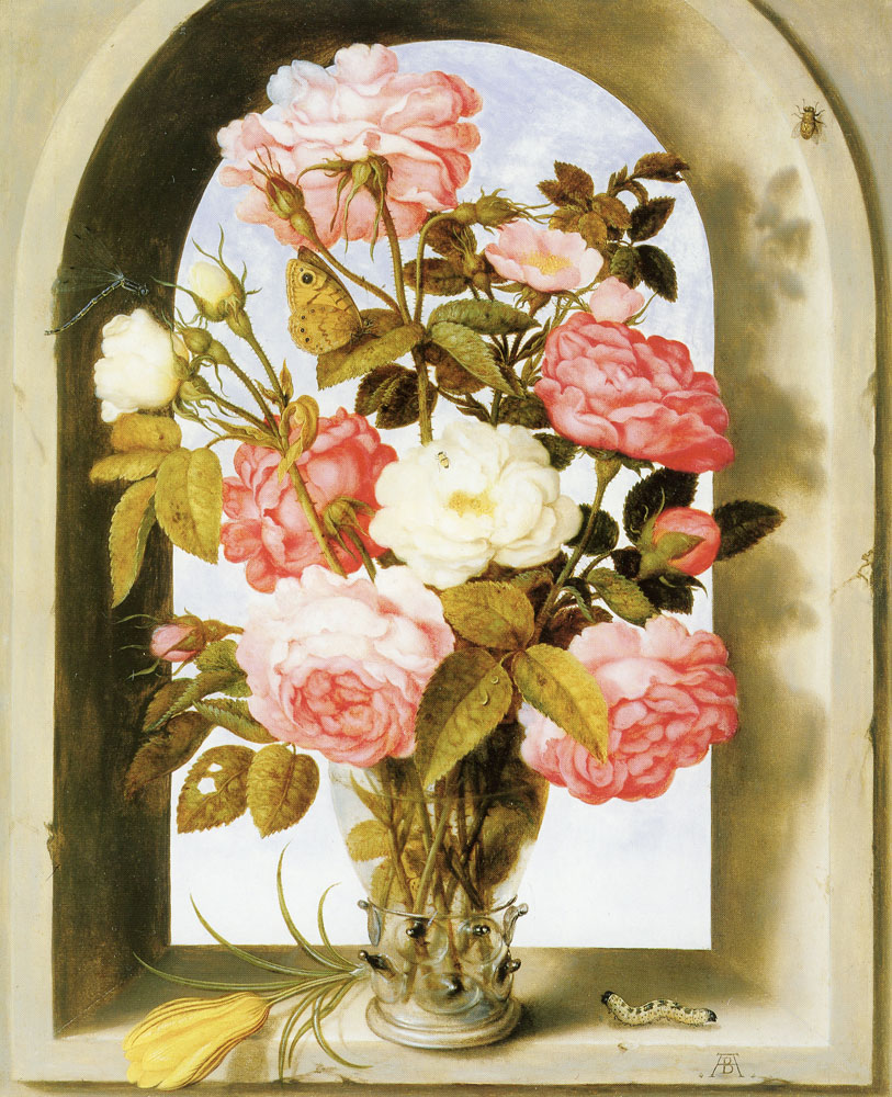 Ambrosius Bosschaert - Vase of Roses in a Window