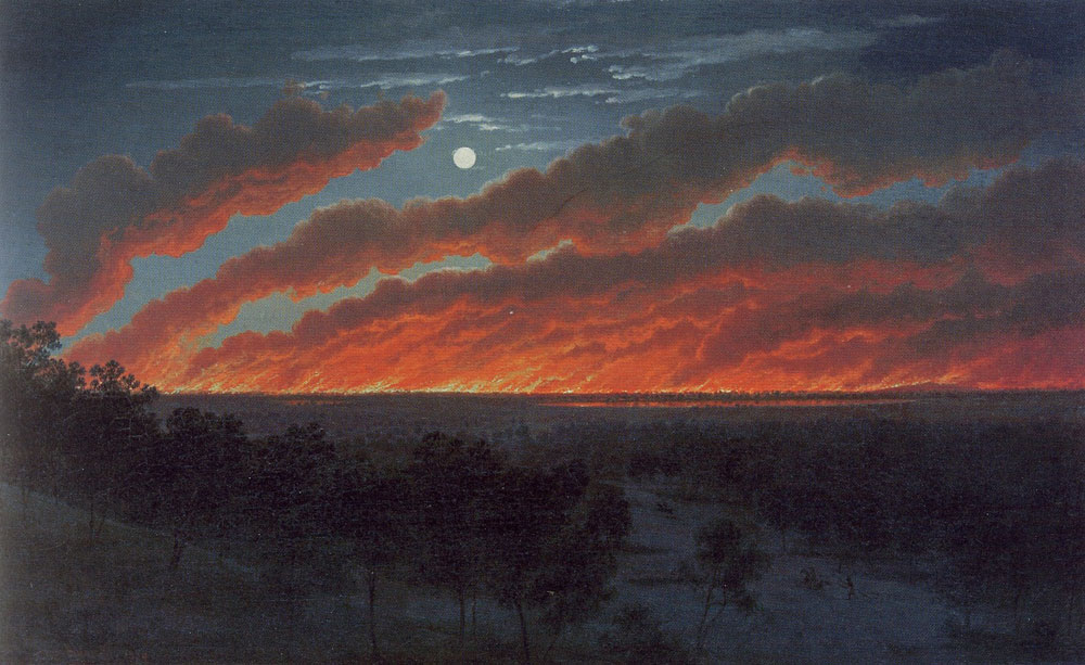 Eugene von Guerard - Bush fire between Mt. Elephant and Timboon