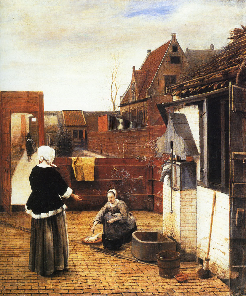 Pieter de Hooch - Courtyard with Lady and Serving Maid