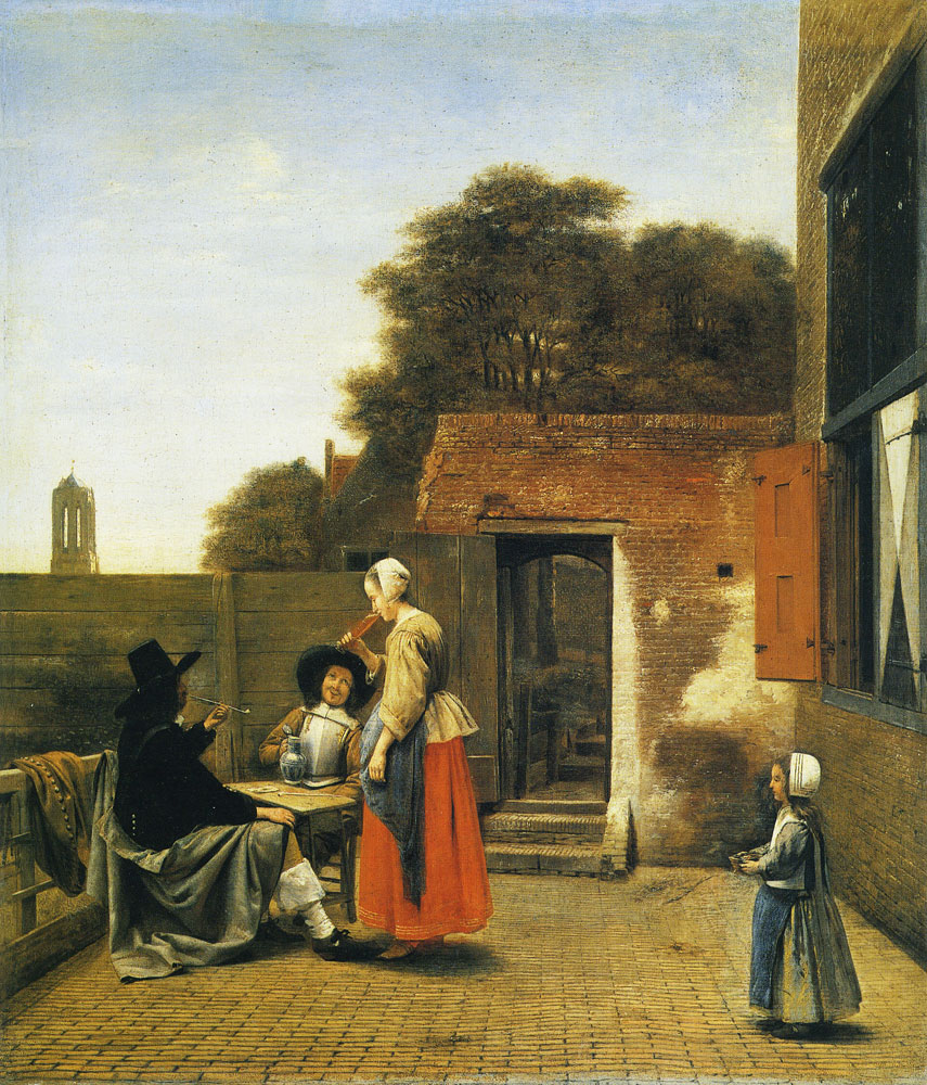 Pieter de Hooch - Two Soldiers and a Woman Drinking in a Courtyard