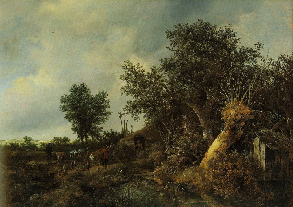 Jacob van Ruisdael - Landscape with a Cottage and Trees