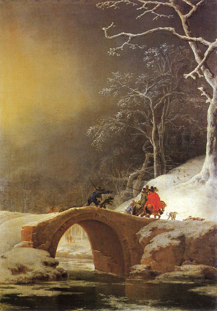Jan Asselijn - Winter landscape with huntsmen on a bridge