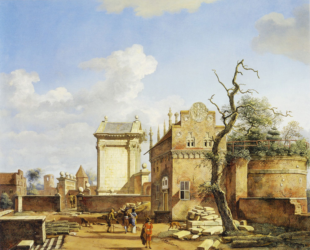 Jan van der Heyden - An Architectural Fantasy with a Triumphal Arch