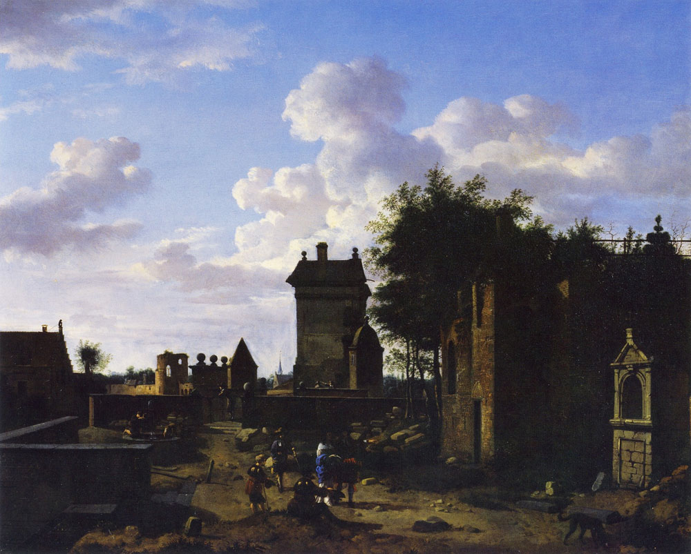 Jan van der Heyden - An Imaginary Town Gate with a Triumphal Arch