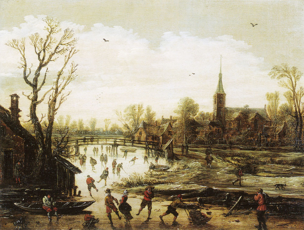 Jan van Goyen - Skaters near a Village