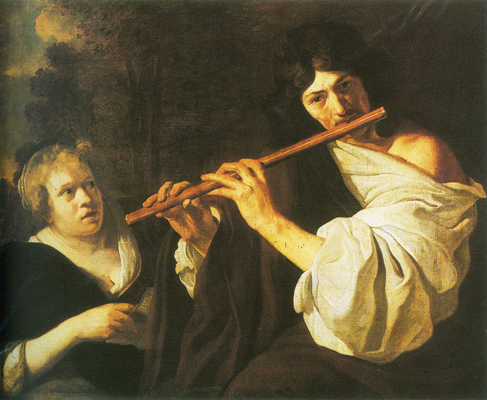 Jacob van Loo - Man playing flute with a woman