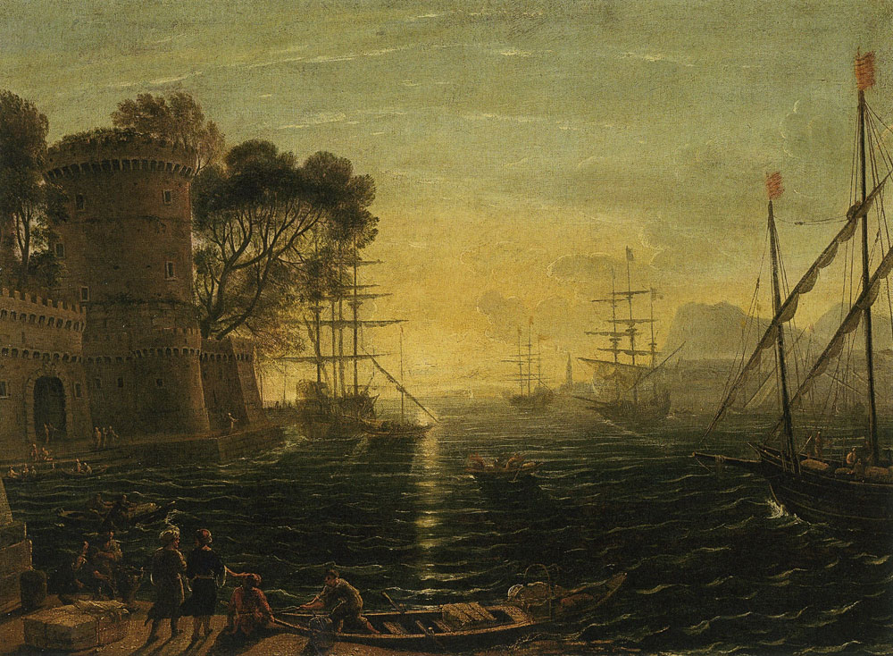 Follower of Claude Lorrain - Harbor at Sunset