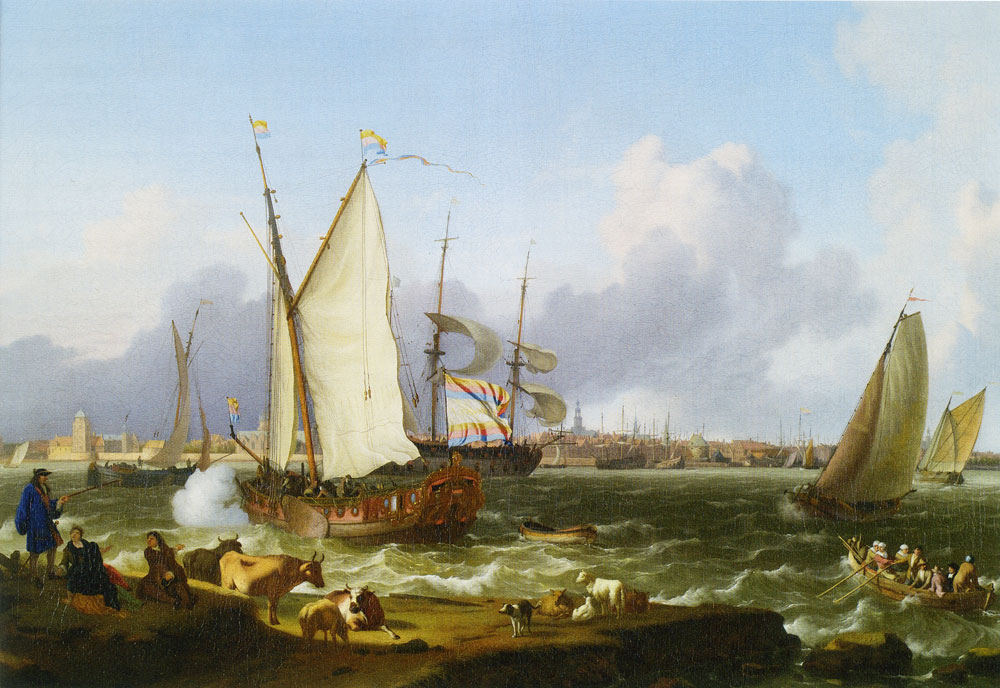 Ludolf Backhuysen - View of Emden from the island Nesserland