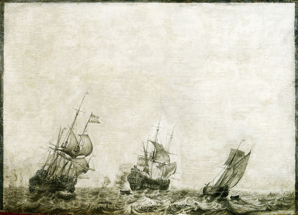 Ludolf Backhuysen - Three ships at a stormy sea