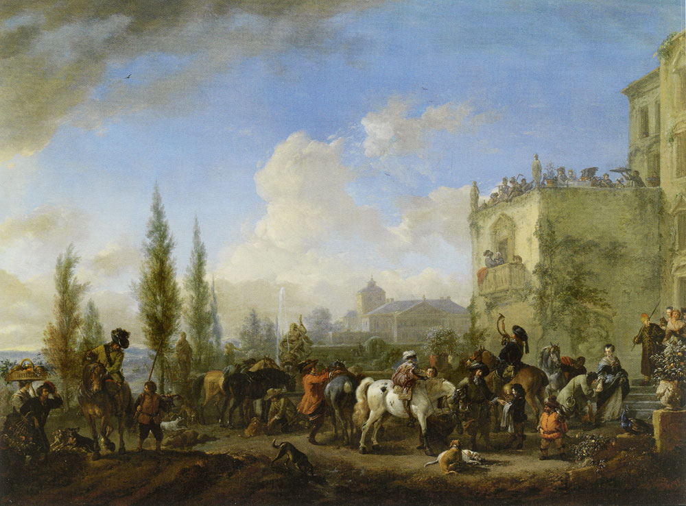 Philips Wouwerman - A hawking party taking leave of their hostess