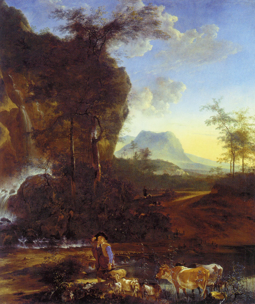Adam Pijnacker - Waterfall in a mountain landscape