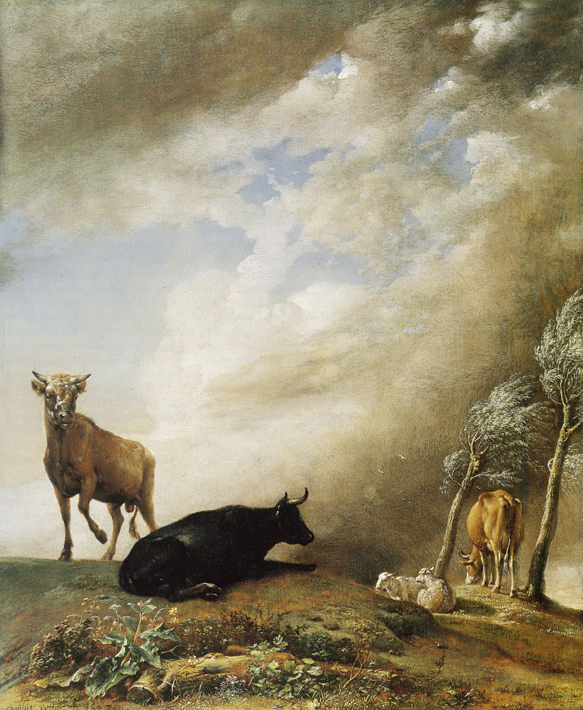 Paulus Potter - Cattle and sheep in a stormy landscape