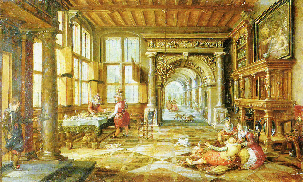 Paul Vredeman de Vries and David Vinckboons - Interior with People making Music and Playing Tric-Trac