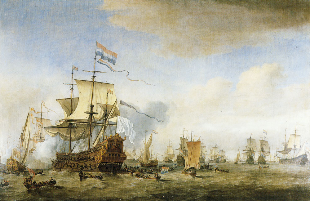 Willem van de Velde the Younger - The council-of-war on board the Eendracht on 24 May 1665