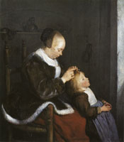 Gerard ter Borch Woman combing a child's hair