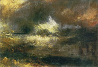 J.M.W. Turner Stormy sea with blazing wreck