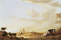 Aelbert Cuyp - Open countryside with shepherds and animals