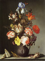 Balthasar van der Ast - Flowers in a vase with shells and insects