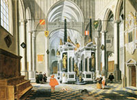 Barthold van Bassen - Interior of an imaginary church with the tomb of William the Silent