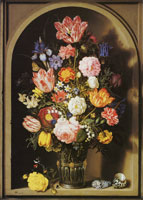 Ambrosius Bosschaert the Elder Bouquet of Flowers in a Stone Niche