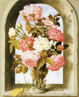 Ambrosius Bosschaert Vase of Roses in a Window