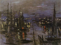 Claude Monet Harbor at Le Havre at night