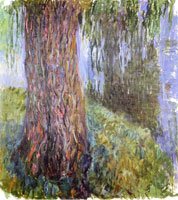 Claude Monet Water lily garden with weeping willow