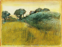 Edgar Degas Wheatfield and green hill