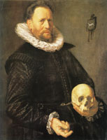 Frans Hals Portrait of a man holding a skull