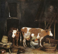 Gerard ter Borch A maid milking a cow in a barn