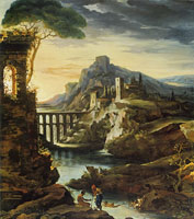 Théodore Gericault Evening: Landscape with an Aqueduct