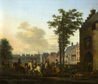 Gerrit Berckheyde A Hunting Party near the Hofvijver in The Hague