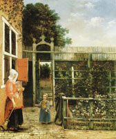 Hendrick van der Burch Woman with a child blowing bubbles in a garden
