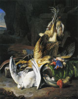 Melchior d'Hondecoeter Dead birds and hunting gear