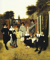 Pieter de Hooch Portrait of a Family in a Courtyard in Delft