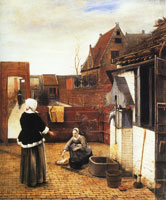Pieter de Hooch Courtyard with Lady and Serving Maid