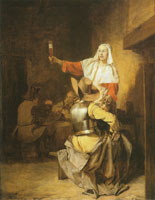 Pieter de Hooch A Seated Soldier with a Standing Serving Woman